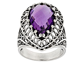 Purple Amethyst Sterling Silver Solitaire Ring 5.50ct