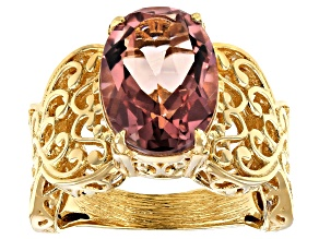 Morganite Color Quartz 18K Yellow Gold Over Sterling Silver Solitaire Ring 5.69ct