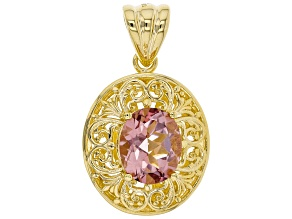 5.69ct Oval Morganite Color Quartz 18K Yellow Gold Over Sterling Silver Pendant