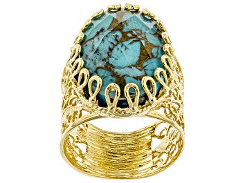 Picture of Oval Turquoise Doublet 18K Yellow Gold Over Sterling Silver Ring