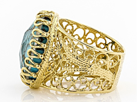 Oval Turquoise Doublet 18K Yellow Gold Over Sterling Silver Ring