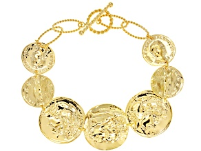 18K Yellow Gold Over Sterling Silver Coin Bracelet