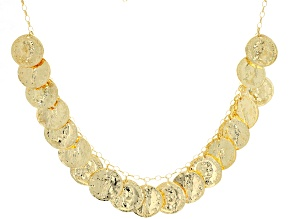 18K Yellow Gold Over Sterling Silver Coin Necklace