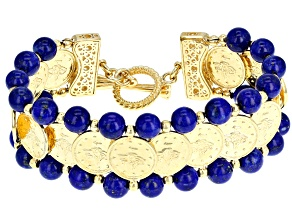 Round Lapis 18K Yellow Gold Over Sterling Silver Bracelet
