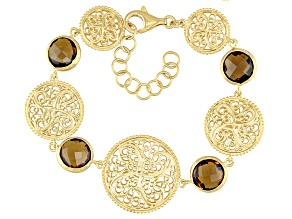10.00CTW Round Cognac Quartz 18K Yellow Gold Over Sterling Silver Bracelet