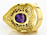 8.00CT Oval Amethyst 18K Yellow Gold Over Sterling Silver Ring