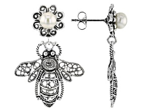 White Cultured Freshwater Pearl Silver Honey Bee Dangle Earrings.