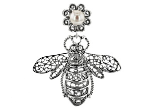 White Cultured Freshwater Pearl Silver Honey Bee  Pendant