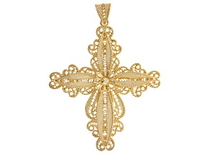 18k Yellow Gold Over Sterling Silver Filigree Cross Pendant