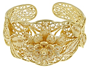 18K Yellow Gold Over Sterling Silver Floral Filigree Cuff