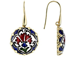 18K Gold Over Silver Hand Painted Ceramic Earrings