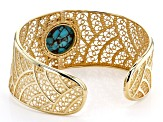 Turquoise Doublet 18k Gold Over Silver Cuff Bracelet