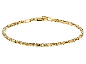 18K Yellow Gold Over Sterling Silver Byzantine Link Bracelet