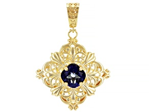 Blue Cavalier Tanzanite™ Color Quartz 18k Gold Over Silver Pendant 5.50ct