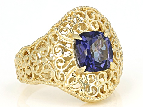 Blue Cavalier Tanzanite™  Color Quartz 18k Gold Over Silver Ring 2.00ct