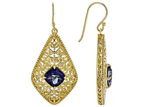 Blue Cavalier Tanzanite™ Color Quartz 18k Gold Over Silver Royal Medallion Earrings 2.20ct