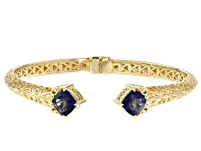 Blue Cavalier Tanzanite™ Color Quartz 18k Gold Over Silver Cuff Bracelet 2.20ctw