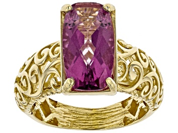 Picture of Lavender Path™ Color Quartz 18k Gold Over Silver Scroll work Ring 3.20ct
