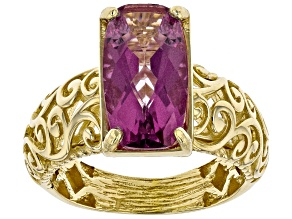 Lavender Path™ Color Quartz 18k Gold Over Silver Scroll work Ring 3.20ct