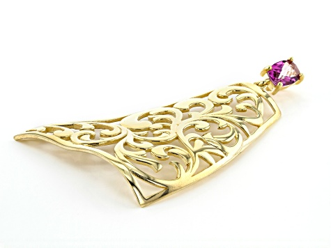 Lavender Path™ Quartz 18k Yellow Gold Over Silver Scroll Work Pendant