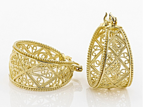 18k Yellow Gold Over Silver Filigree Hoop Earrings