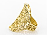 18K Gold Over Sterling Silver Filigree Saddle Ring