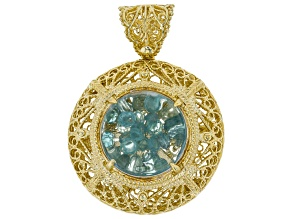Blue Apatite 18k Gold Over Silver Shaker Pendant