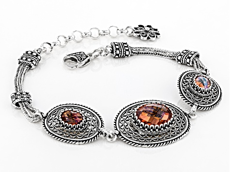 Orange Quartz Sterling Silver Bracelet