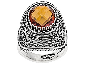 Oval Orange Quartz Sterling Silver Ring 6.00ct