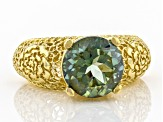 Green Quartz 18K Yellow Gold Over Silver Ring