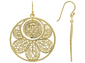 18K Yellow Gold Over Silver Coin Replica Earrings