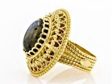 Oval Labradorite 18K Yellow Gold Over Sterling Silver Ring