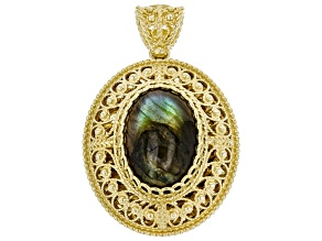 Labradorite 18K Yellow Gold Over Sterling Silver Pendant