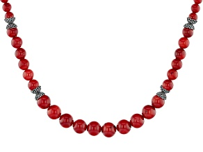 Red Coral Sterling Silver Graduated Bead Necklace