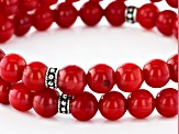 Red Coral Sterling Silver Stretch Bead Bracelet