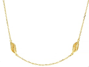 18K Yellow Gold Over Sterling Silver Station Necklace