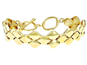 18K Yellow Gold Over Sterling Silver Link  Bracelet