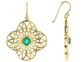 Green Onyx 18K Yellow Gold Over Silver Earrings .85ctw