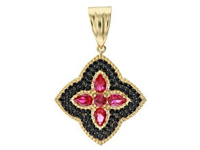 Lab Created Ruby 18K Yellow Gold Over Silver Enhancer 3.80ctw