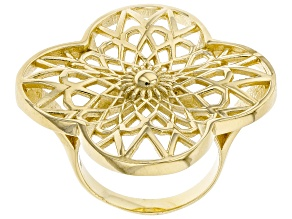 18k Yellow Gold Over Sterling Silver Filigree Ring