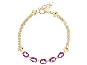 Quartz 18K Gold Over Sterling Silver Bismark Chain Bracelet 8.75ctw