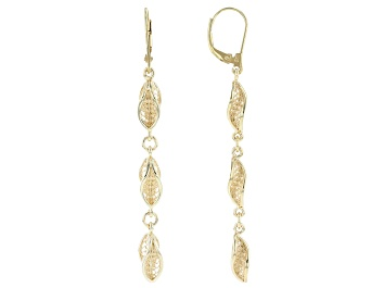 Picture of 18K Gold Over Sterling Silver Petite Waves Drop Earrings