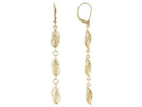 18K Gold Over Sterling Silver Petite Waves Drop Earrings