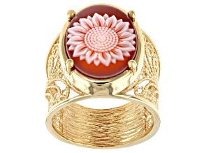 Red Agate Sunflower Cameo 14K Gold Over Silver Ring