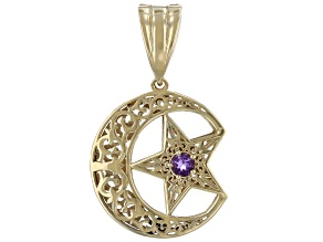 Amethyst 18K Gold Over Silver Crescent Moon & Star Enhancer