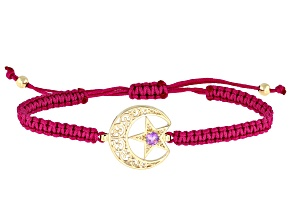 Amethyst 18K Gold Over Silver Crescent Moon & Star Cord Bracelet