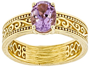Amethyst 18K Gold Over Silver Scroll-work Solitaire Ring