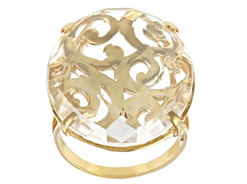 Picture of White Quartz 18K Yellow Gold Over Silver Scroll-work Ring
