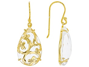 White Quartz 18K Yellow Gold Over Sterling Silver Scroll-work Earrings