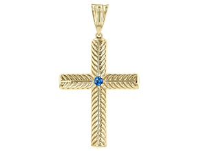 Topaz 18K Gold Over Sterling Silver Cross Enhancer 0.20ct